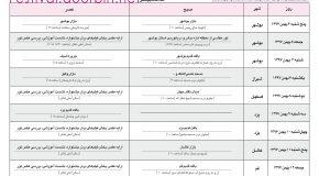 جدول ریز برنامه جشنواره استان های دوربین.نت
